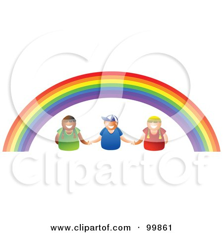 Royalty-Free (RF) Clipart Illustration of Three Kids Holding Hands Under A Rainbow by Prawny