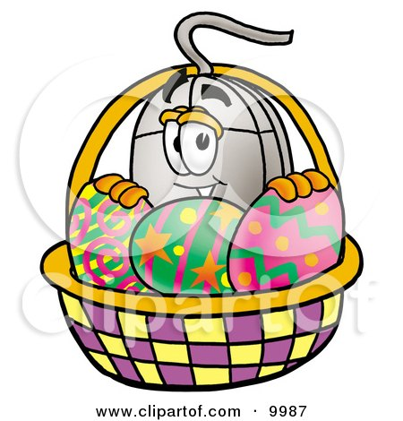 Clipart Picture of a Computer Mouse Mascot Cartoon Character in an Easter Basket Full of Decorated Easter Eggs by Toons4Biz