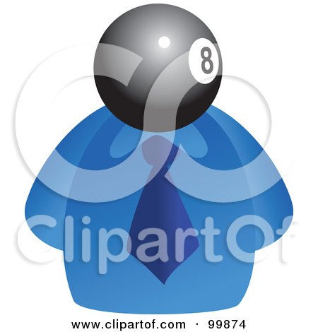 Royalty-Free (RF) Clipart Illustration of a Businessman With An Eight Ball Face by Prawny