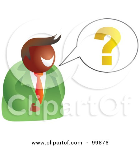 Royalty-Free (RF) Clipart Illustration of a Businessman Asking A Question by Prawny