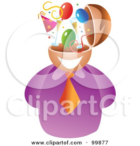Royalty-Free (RF) Clipart Illustration of a Businessman With A Party Brain by Prawny