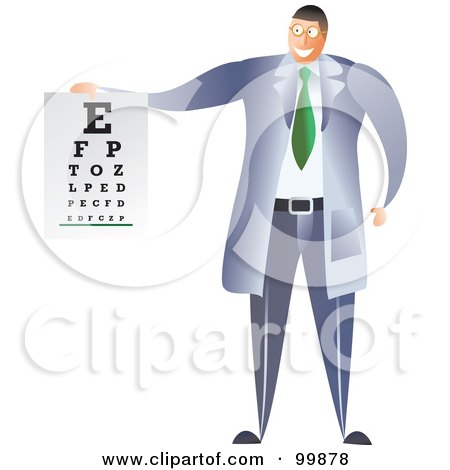 Royalty-Free (RF) Clipart Illustration of a Male Optometrist Holding An Eye Chart by Prawny