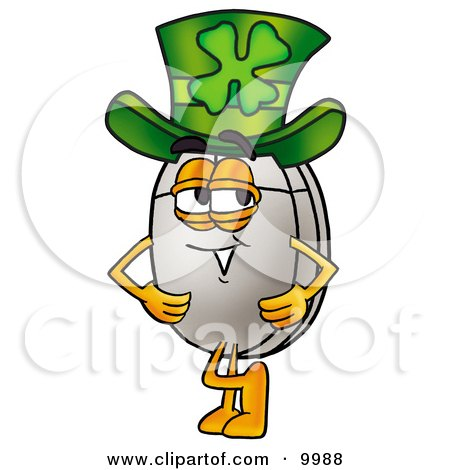 Clipart Picture of a Computer Mouse Mascot Cartoon Character Wearing a Saint Patricks Day Hat With a Clover on it by Toons4Biz