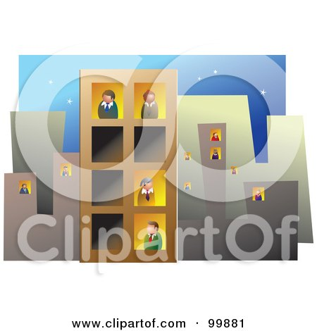 Royalty-Free (RF) Clipart Illustration of a Busy Office Block With People In The Windows by Prawny