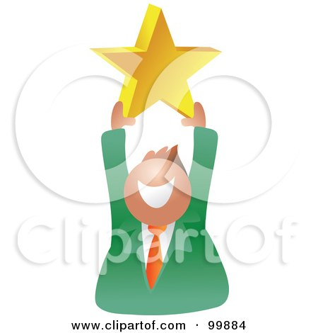 Royalty-Free (RF) Clipart Illustration of a Businessman Holding Up A Gold Star by Prawny