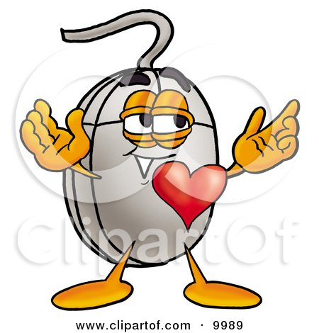 Clipart Picture of a Computer Mouse Mascot Cartoon Character With His Heart Beating Out of His Chest by Toons4Biz
