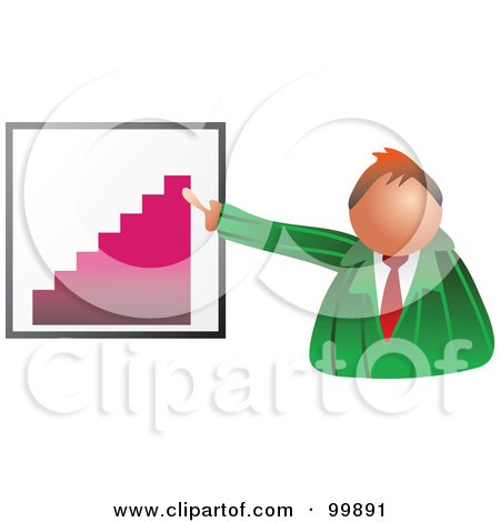 Royalty-Free (RF) Clipart Illustration of a Businessman Discussing A Bar Graph by Prawny