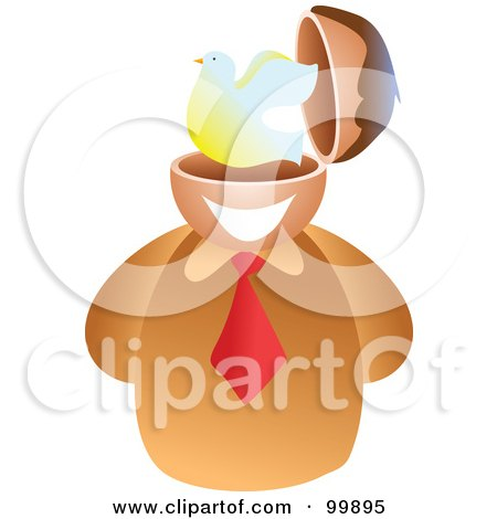 Royalty-Free (RF) Clipart Illustration of a Businessman With A Peace Brain by Prawny