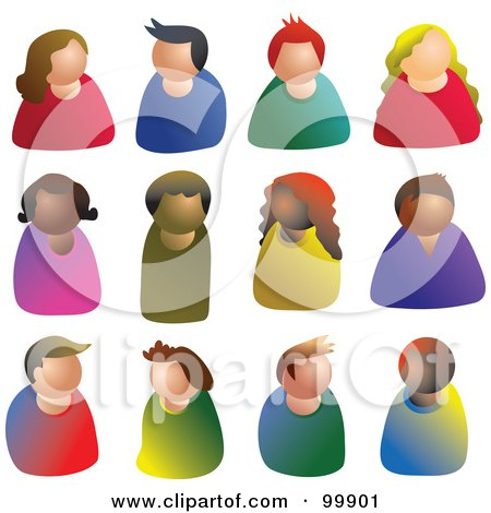 Royalty-Free (RF) Clipart Illustration of a Digital Collage Of Faceless People Avatars by Prawny