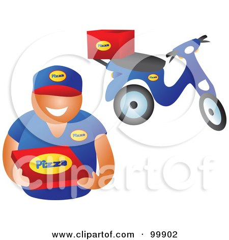 Royalty-Free (RF) Clipart Illustration of a Pizza Delivery Boy Holding A Box, His Scooter In The Background by Prawny