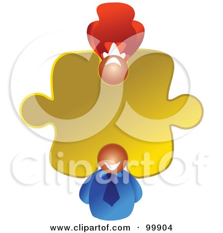 Royalty-Free (RF) Clipart Illustration of a Business Woman And Man In A Puzzle Piece by Prawny