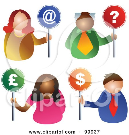 Royalty-Free (RF) Clipart Illustration of a Digital Collage Of Business Men And Women Holding At, Question, Pound And Dollar Signs by Prawny