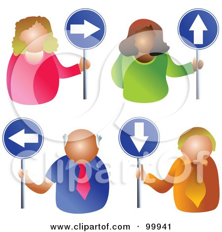 Royalty-Free (RF) Clipart Illustration of a Digital Collage Of Business Men And Women Holding Arrow Signs by Prawny