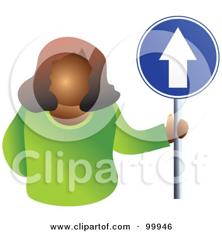 Royalty-Free (RF) Clipart Illustration of a Businesswoman Holding An Up Arrow Sign by Prawny