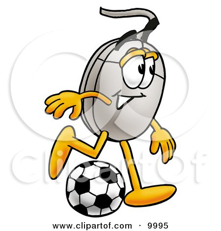 Clipart Picture of a Computer Mouse Mascot Cartoon Character Kicking a Soccer Ball by Toons4Biz