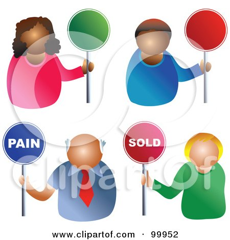 Royalty-Free (RF) Clipart Illustration of a Digital Collage Of Business Men And Women Holding Pain, Sold And Blank Signs by Prawny