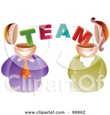 Royalty-Free (RF) Clipart Illustration of a Business Man And Woman With Team Brains by Prawny