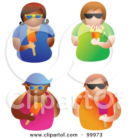 Royalty-Free (RF) Clipart Illustration of a Digital Collage Of Four Men And Women Wearing Shades And Eating Ice Cream And Popsicles by Prawny