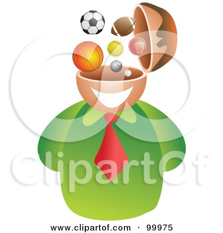 Royalty-Free (RF) Clipart Illustration of a Businessman With A Sports Brain by Prawny