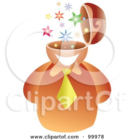 Royalty-Free (RF) Clipart Illustration of a Businessman With A Star Brain by Prawny