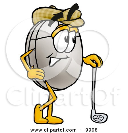 Clipart Picture of a Computer Mouse Mascot Cartoon Character Leaning on a Golf Club While Golfing by Toons4Biz