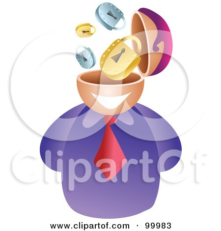 Royalty-Free (RF) Clipart Illustration of a Businessman With A Security Brain by Prawny