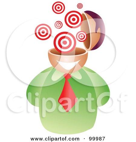 Royalty-Free (RF) Clipart Illustration of a Businessman With A Bullseye Brain by Prawny