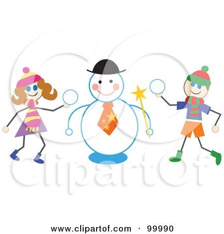 Stick Children Making a Snowman Posters, Art Prints
