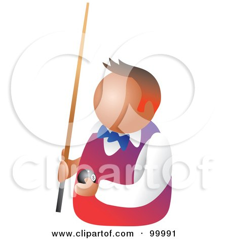 Royalty-Free (RF) Clipart Illustration of a Billiards Player Holding A Pool Ball And Stick by Prawny