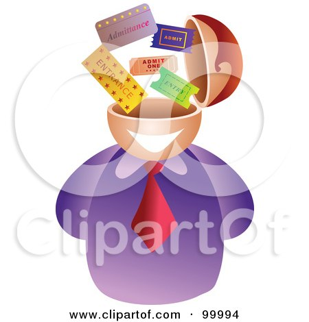 Royalty-Free (RF) Clipart Illustration of a Businessman With A Ticket Brain by Prawny