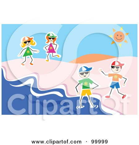 Royalty-Free (RF) Clipart Illustration of Stick Kids Playing At A Beach by Prawny