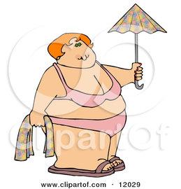 12029_fat_woman_in_a_bikini_on_the_beach_holding_a_towel_and_umbrella.jpg