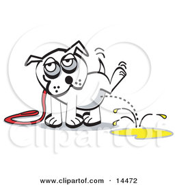 White Dog on a Leash, Lifting His Leg and Urinating Clipart Illustration