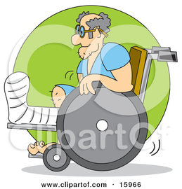 Man With His Leg In A Cast, Using A Wheelchair Clipart Illustration