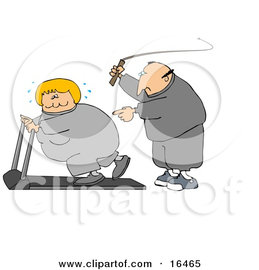 16465_caucasian_man_in_sweats_swinging_a_whip_while_telling_his_blond_wife_to_keep_exercising_on_a_treadmill