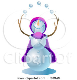 Clipart Illustration of a Jolly Snowman Wearing A Purple And Pink Cape And Hat, Looking Upwards And Juggling Snowballs