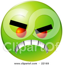 Clipart Illustration of a Green Emoticon Face With Red Eyes, Gritting Its Teeth, Symbolizing Anger And Bullying