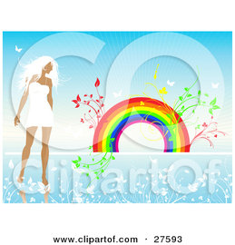 Clipart Illustration of a White Haired Woman In A White Dress, Walking In A Blue Landscape Of White Flowers With Plants Sprouting From A Rainbow In The Background