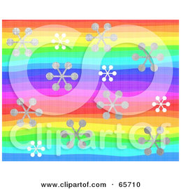 Royalty-Free (RF) Clipart Illustration of a Background Of Snowflakes Over Rainbow Lines