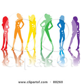 Royalty-Free (RF) Clipart Illustration of a Line Of Red, Orange, Yellow, Green, Blue And Purple Sexy Pinup Women With Hearts On Their Bodies And Reflections