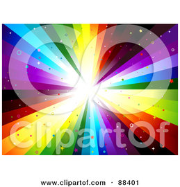 Royalty-Free (RF) Clipart Illustration of a Rainbow Vortex Background With Star And Circle Glitter