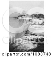Snow Along The Top Of American Falls Niagara Falls In Winter New York Royalty Free Historical Stock Photography by JVPD