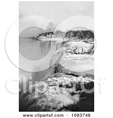 Snow Along The Top Of American Falls, Niagara Falls, In Winter, New York - Royalty Free Historical Stock Photography by JVPD