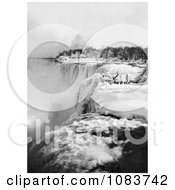 Snow And Ice At The Top Of American Falls In Winter Niagara Falls Royalty Free Historical Stock Photography by JVPD