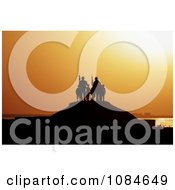 Soldiers And Children Silhouetted Against A Sunset Free Stock Photography
