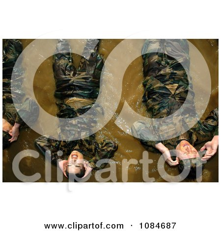 Soldiers Doing Bicycle Kicks in Water - Free Stock Photography by JVPD