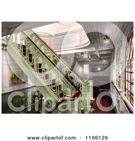 Staircase on the Konig Albert, North German Lloyd, Royal Mail Steamers - Royalty Free Historical Stock Photo by JVPD