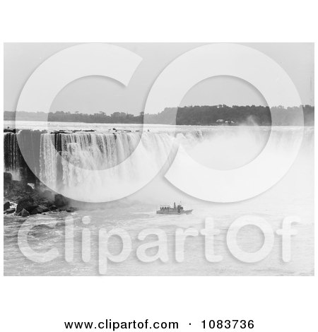 Steamboat In The Mist At The Bottom Of Horseshoe Falls, Niagara Falls - Royalty Free Historical Stock Photography by JVPD