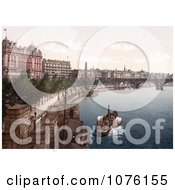 Steamboat Near CleopatraS Needle Obelisk Along The Thames River Embankment London England UK Royalty Free Stock Photography by JVPD