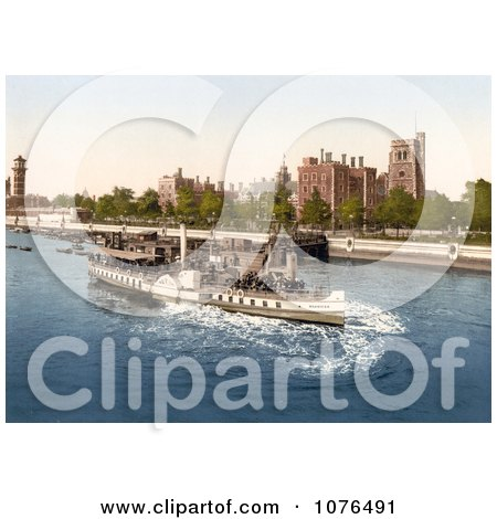 Steamboat on the River Thames, Passing the Lambeth Palace in London, England - Royalty Free Stock Photography  by JVPD